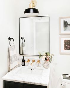 Yes please! Pretty powder room design by - Bathroom themes , Bathroom Mirror Design, Bathroom Trends, Bathroom Renovations, Bathroom Interior, Bathroom Storage, Bathroom Ideas, Bathroom Organization, Remodel Bathroom, Bathroom Inspiration