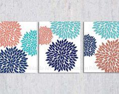 Navy Aqua Coral PRINTABLE, Aqua Coral Navy, Dahlia, Flower Burst, Floral Burst, Modern Nursery, Modern Bedroom Decor, 8x10