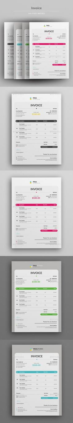 #Invoice - #Proposals & Invoices #Stationery Download here: https://graphicriver.net/item/invoice/19125262?ref=alena994