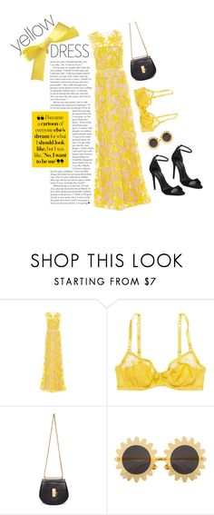 """yellow dress"" by mor-style ❤ liked on Polyvore featuring Naeem Khan, American Eagle Outfitters, Chloé, H&M, Alexander Wang and yellowdress"