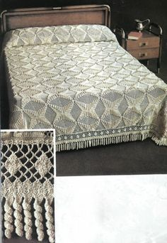 "Diy Crafts - [ ""Crochet bedspread ♥LCB-MRS♥ with diagrams (cama note: love the \""fringe\"" on this!"", "" Beautiful, but I d Crochet Bedspread, Crochet Tablecloth, Baby Blanket Crochet, Poncho Knitting Patterns, Afghan Crochet Patterns, Diy Crafts Crochet, Crochet Home, Vintage Bedspread, Filet Crochet"