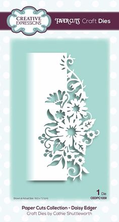 Go dizzy with daisies when you craft with the Daisy Edger Die from the Paper Cuts Collection by Creative Expressions. The package includes one thin metal die by Paper Cutting Templates, Paper Cutting Art, Kirigami Templates, Cut Paper Art, Paper Cutting Patterns, Daisy, Cut Out Art, Card Creator, Metal Clock