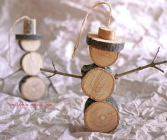 Treasured Twig Snowmen Ornaments / Put a fishing pole at the end of it w/a fish ---