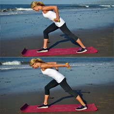 Love beach workouts!! My all time fav is a jog& a little 'mat Pilates' core stuff right after before stretching & meditating #sweatbliss