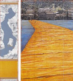"""The Floating Piers (Project for Lake Iseo, Italy) Drawing 2014 65 x 15"""" and 65 x 42"""" (165 x 38 cm and 165 x 106.6 cm) Pencil, charcoal, pastel, wax crayon, enamel paint, cut-out photographs by Wolfgang Volz, topographic map, fabric sample and tape Photo: André Grossmann © 2014 Christo"""