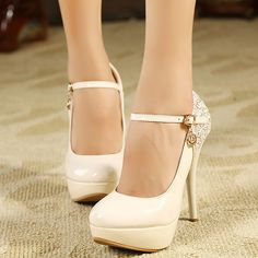 Beautiful Ivory PU Sequined Round Closed Toe Stiletto Super High Heel Mary Jane Pumps