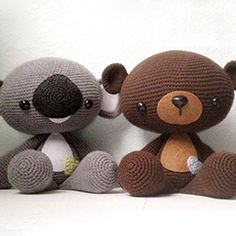 Huggable Bear and Koala amigurumi crochet pattern by A Morning Cup of Jo Creations