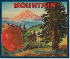 Fruit Crate Labels - Antique Vintage Art Fruit Crate Label - 038 - Mountain Apples Portland Oregon Painting