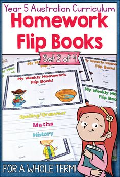 This comprehensive Year 5 pack has everything you need to organise homework a whole term: 9 Weekly flip books featuring the following subjects/skills, Spelling and Grammar, Mental Computation, Mathematics, History and Social Studies (HASS) 4 Answer Booklets (1 per set) Topic lists with Australian Curriculum links Printing and assembly instructions.#homework#aussiestarresources#australiancurriculum#year5 School Resources, Teacher Resources, Homework Organization, Flip Books, Spelling And Grammar, Australian Curriculum, New School Year, Interactive Notebooks, Primary School