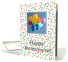 Retirement balloons in blue sky card