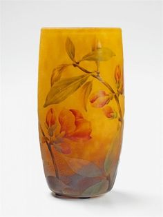 """Nancy, Daum Frères, um 1910. A Daum Frères etched glass enamel decorated vase """"Cognassier du Japon"""". Cameo Daum Nancy France mark with cross of Lorraine to the side. Minor scratches. H 12.5 cm."""