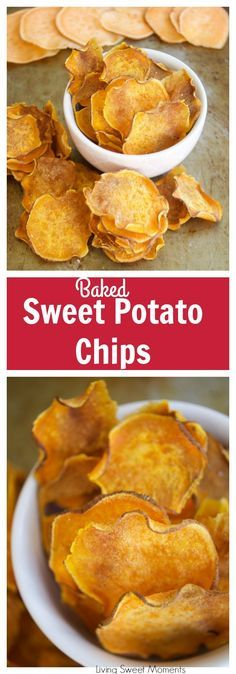 These crunchy Baked Sweet Potato Chips are oven baked to perfection and are great to snack on the go, especially in the lunchbox. It is also an easy recipe. More healthy snack recipes at livingsweetmoments.com