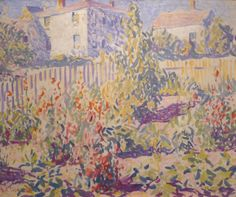 """One of the earliest pieces is this wonderful 1916 high-key impressionistic  """"Provincetown Garden""""by E. Ambrose Webster."""