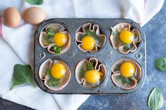 Ham Spinach Egg Cups are an easy meal prep that is high in protein and low carb. Simply bake in a muffin tin to have a healthy breakfast at the ready... made with only 4 ingredients!