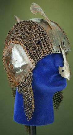 Indian riveted mail and plate helmet.