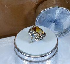 162 mm Art Deco Ring Silber 935 Citrin alt SR758 von Schmuckbaron