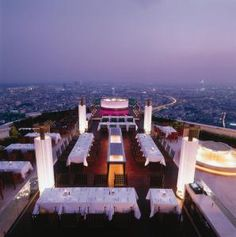 Diners at the Sirocco restaurant are met by a breathtaking view of the Bangkok cityscape as they step out of the elevator on the 63rd floor of the State Tower