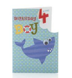 Age 4 shark card. Cute life preserver letter