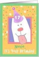 17th Birthday, Niece, Happy Dog, Party Hat Card by Greeting Card Universe. $3.00. 5 x 7 inch premium quality folded paper greeting card. Find birthday cards for everyone on your list at Greeting Card Universe. Birthday cards are always more memorable when they are sent the old-fashioned way. Look no further than Greeting Card Universe for your birthday card needs. This paper card includes the following themes: 17th birthday, niece, and happy birthday. Greeting Card Universe ha...