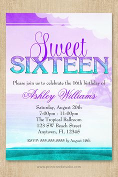 How to make a sweet 16 candelabra base diy tutorial diy purple and aqua tropical beach sweet 16 birthday party invitation solutioingenieria