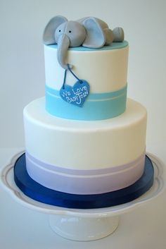 Elephant baby shower cake...boy or girl, just change the colors