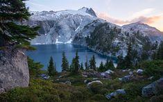 Download wallpapers Cyclone Lake, mountain lake, morning, mountain landscape, USA, Mount Rainier National Park