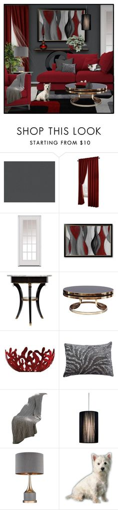 """2/5 RED + GREY Living Room"" by signaturenails-dstanley ❤ liked on Polyvore featuring interior, interiors, interior design, home, home decor, interior decorating, Maytex, Milliken, Alessi and living room"