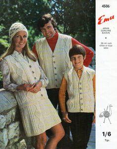 womens mens childrens aran knitting pattern PDF download aran waistcoat aran…