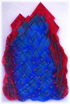 "Ardyth Davis: Peak 1/ Blue (1993)  60""x40""x2""  Acrylic on Folded and Pleated Muslin  Collection of Xerox Corp. in Leesburg, VA"