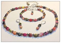 3 Piece Jewelry Set Watermelon Tourmaline Gemstone Necklace, Bracelet & Earrings