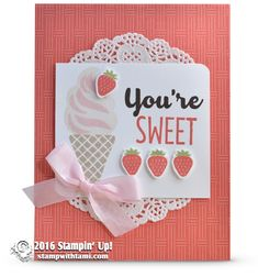 SNEAK PEEK: Cool Treats Strawberry Ice Cream Cone Card   Stampin Up Demonstrator - Tami White - Stamp With Tami Crafting and Card-Making Stampin Up blog