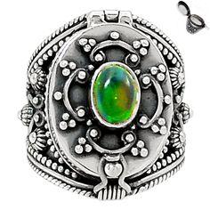 Poison Ring - Genuine & Rare Chalama Black Opal 925 Silver Ring s.6.5 SR173025   eBay