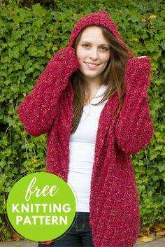 7950b0b8f8bbc4 Free Knitting Pattern  Niall Hooded Cardigan Knit Cardigan Pattern