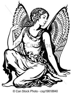 Illustration of young woman with angel wings, virgo astrological zodiac sign, black and white tattoo image vector art, clipart and stock vectors. Angel Drawing, Woman Drawing, Angel Vector, Angel Clipart, Angel Silhouette, Signo Virgo, Angel Illustration, Mythological Animals, Statue Tattoo