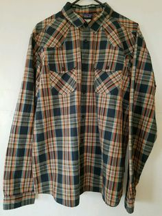 Patagonia Mens Large Button Front L/S Shirt Plaids Organic Cotton  #Patagonia #ButtonFront