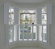 Tier on Tier 3 - Sided Bay Window Shutters - Absolute Plantation Shutters Living Room Windows, My Living Room, Victorian Terrace, Victorian Homes, Style At Home, Front Doors With Windows, Bay Windows, Windows With Shutters, Bay Window Blinds