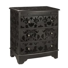Upcycled Dresser black on black painted stencil. Love the contrast of the flat and shiny black paint. I NEED this in my black and white room.