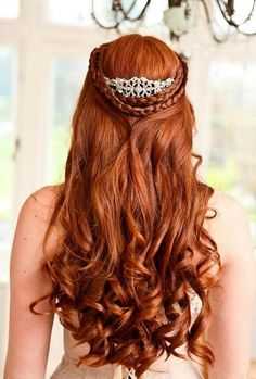 gorgeous long wedding hairstyle with crown.