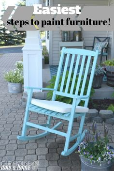 Easiest way to paint furniture! The before and after is crazy for these outdoor rocking chairs. Easy tutorial for anyone to give a try!