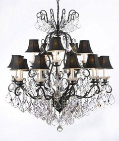 """Wrought Iron Crystal Chandelier Lighting With Black Shades W38"""" H44"""" - F83-Blackshades/556/16"""