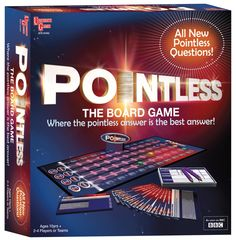 Pointless Board Game: Another good tv spin off game! I prefer this to the card game as the experience is almost identical to the show - you get to play all the rounds.  If you're a board gamer you'll find the rules incredibly simple - if you're not, it may be harder to pick up. It has some clever card sleeves to hide the answers so the question master can answer too. Some of the answers are wrong, which I find very annoying! Quick to play and great for gamers and non gamers - too hard for…