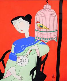 Contemporary Japanese Painting of Woman with Fan Caged Bird, Bright Pop Art Colors, Deep Red - pinned by pin4etsy.com