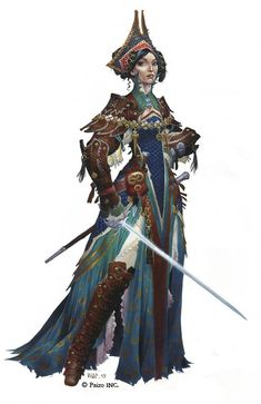 Character illustration from the cover art of Pathfinder RPG Adventure Path - Dance of the Damned by Wayne Reynolds High Fantasy, Fantasy Rpg, Medieval Fantasy, Fantasy Girl, Dungeons And Dragons Characters, Dnd Characters, Fantasy Characters, Female Characters, Wayne Reynolds