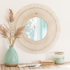 Round Bleached Bamboo Mirror D 75 Bamboo Mirror, Garland Decor, Dark Grey Couch Living Room, Cozy House, Mirror, Deco, Living Room Baskets, Rattan Mirror, Home Decor Inspiration