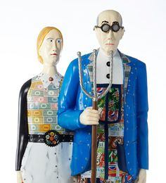 """Overalls All Over: A Grant Wood Experience - """"American Upcycle"""" Grant Wood American Gothic, American Gothic Parody, Artist Grants, Mona Friends, American Artists, Picture Show, Gothic Fashion, Art For Kids, Upcycle"""