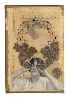 'Fresh courage' by American artist Hollie Chastain. collage on book cover. via the jealous curator Art And Illustration, Illustrations Posters, Art Du Collage, Collage Artists, Kunst Online, Ouvrages D'art, Photocollage, Art Design, Art Plastique