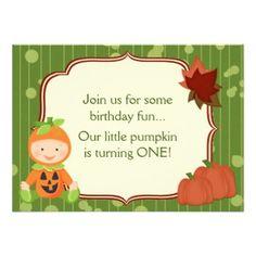 Baby in Pumpkin Costume 1st Birthday Invitation