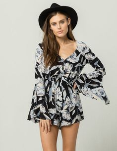 84ea4d591f38 BILLABONG Sittin Pretty Womens Romper - NAVCO - 314822211. Long Sleeve ...