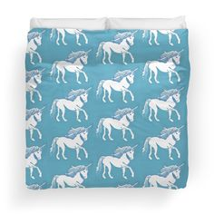 Blue and White Unicorns pattern Duvet Covers (sizes Twin, Queen, or King) by Abigail Davidson at Redbubble