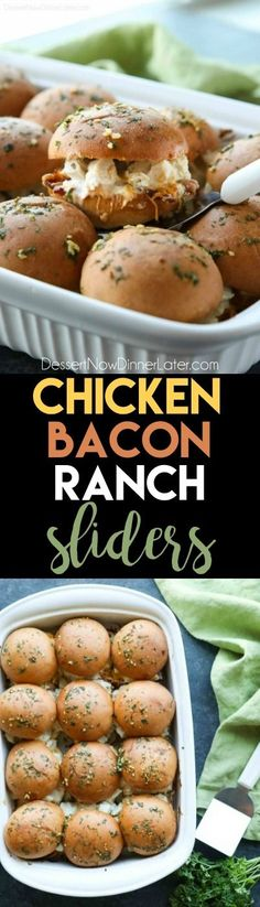 Chicken Bacon Ranch Sliders are perfect for dinner or the big game! Quick and easy to make with leftover chicken. Plus, they taste great! Top Recipes, Meat Recipes, Slow Cooker Recipes, Chicken Recipes, Dinner Recipes, Cooking Recipes, Burger Recipes, Dinner Ideas, Recipies